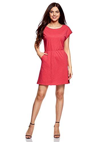 Rose avec Maille 4d00n Taille Robe Femme lastique oodji Ultra q0wIvn4I