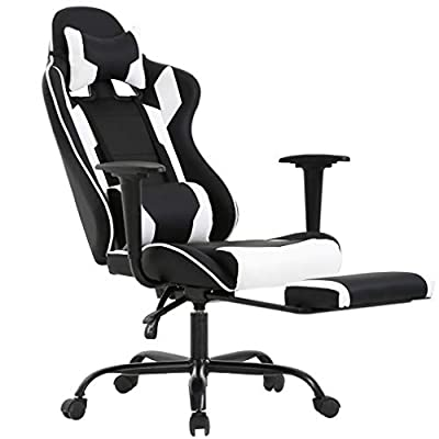 Office Chair Gaming Chair Ergonomic Swivel Chair High Back Racing Chair, with Footrest Lumbar Support and Headrest from BestOffice