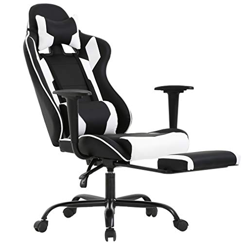 BestOffice Ergonomic Office Chair PC Gaming Chair Cheap Desk Chair Executive PU Leather Computer Chair Lumbar Support with Footrest Modern Task Rolling Swivel Chair for Women, Men(White) (Best Gaming Chair Brands)