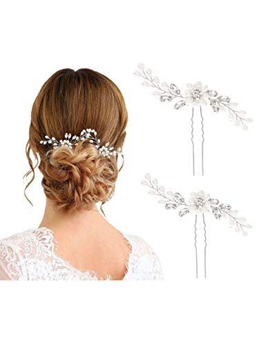 Unicra Bride Wedding Pearl Hair Pins Wedding Bridal Hair Pieces Accessories for Women and Girls (Gold)]()