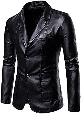 Yonglan Hombres PU Traje Chaqueta Tamaño Grande Color Sólido Slim Fit Chaqueta De Cuero Blazer