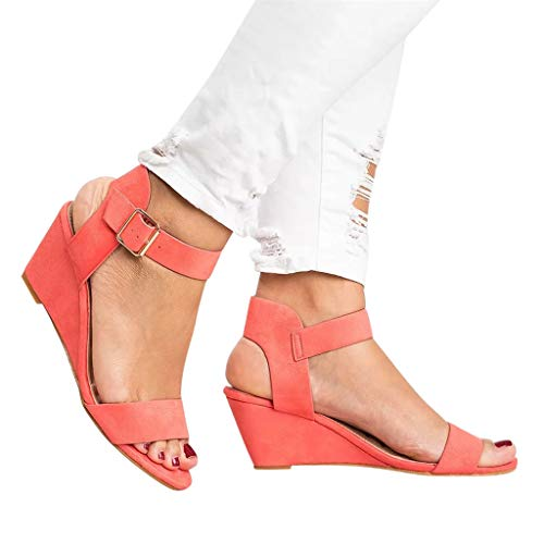 Women's Summer Ankle Strap Buckle Low Wedge Platform Heel Sandals Fashion Design Pump Shoes (US:7.5, Watermelon Red) - Low Heel Womens Casual Shoes