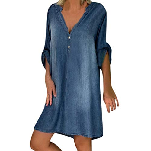 Spring Color  Women's Casual Looseon Up Dress V Neck Jeans Dresses Blue