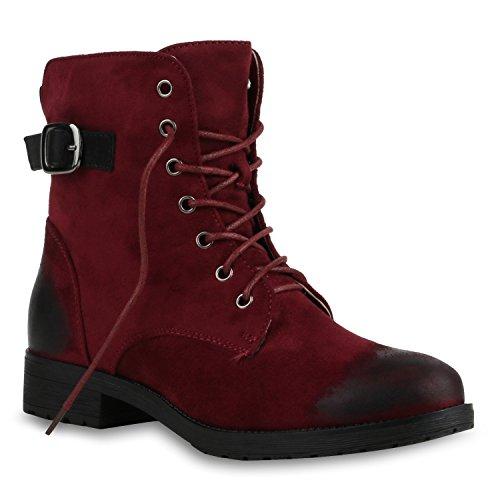 Stiefelparadies Damen Stiefeletten Schnürstiefeletten Worker Boots Zipper Schuhe Flandell Rot Brito