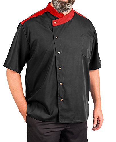 Spun Coat Chef Polyester - KNG Lightweight Uptown Snap Front Chef Coat, Black with Red Accent, 2XL