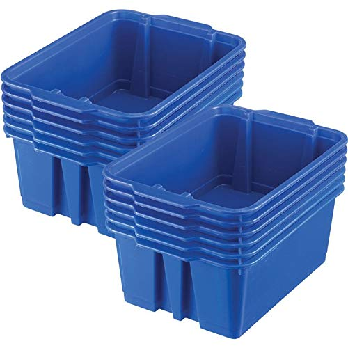 Really Good Stuff Stackable Plastic Book and Organizer Bins for Classroom or Home Use - Sturdy, Colored Plastic Baskets (Set of 12)