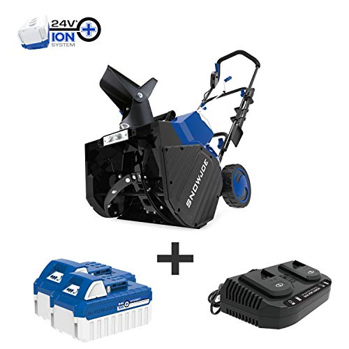 Snow Joe 24V-X2-SB18 18-Inch 48-Volt 4.0-Ah Cordless Snow Blower, Kit (w/2 x 24-Volt 4.0-Ah Batteries and Rapid Charger) (Cordless Snow Blower)