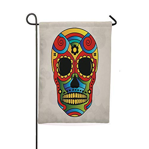 iPrintsophierhome Garden Banner Outdoor Flag Flags,Figure Macabre Mexico Latin Tradition Mythical,Holiday Decorations Outdoor Garden Decoration Digital Printing Flag ()