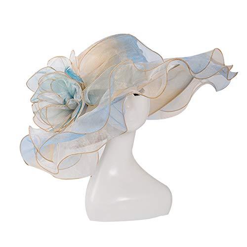 FADVES Women Oganza Sun Hat Church Kentucky Derby Wide Brim Wedding Formal Hat (Light Blue)