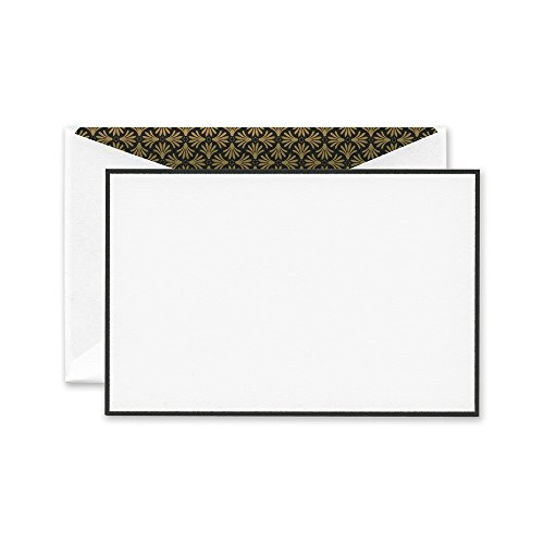 Crane Black Bordered Correspondence Card with Elegant Palm Lining (Bordered Correspondence Cards)