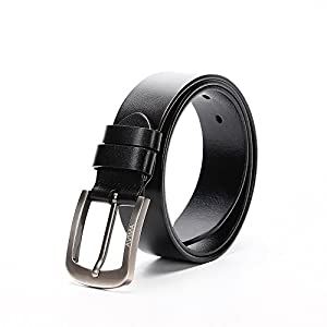 AVIMA BEST Top Grain Italian Genuine Black Leather Belt for Men (42)