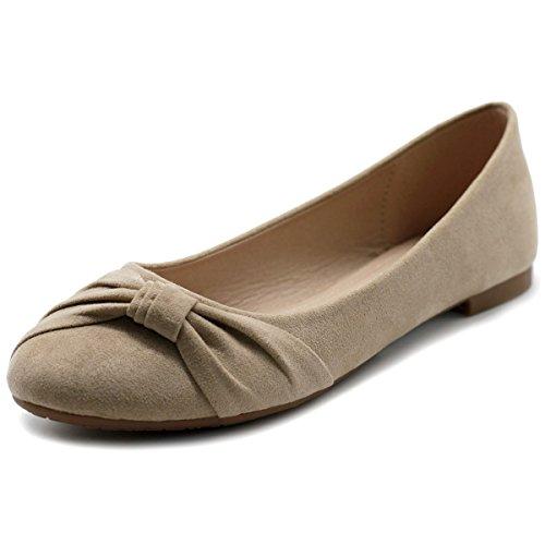 Ollio Women's Shoes Ballets Faux Suede Flats ZM1815 (10 B(M) US, Beige)