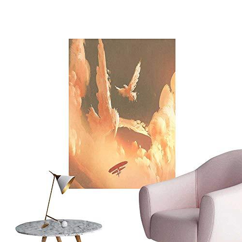 (Vinyl Wall Stickers Phoenix Bird Shaped Fluffy Cloud Sunset Plane Freedom Pa t Cream Blu Perfectly Decorated,20