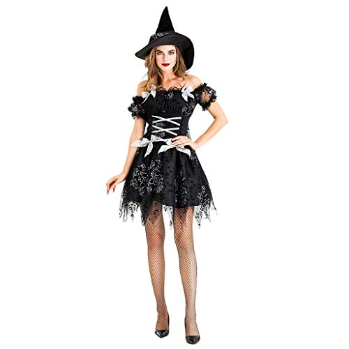 Zlolia Witch Black Night Night Ghost Game Suit New Halloween Costume Set(Skirt& Hat)