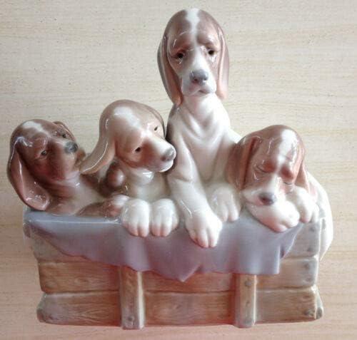 可リヤドロ 4ビーグル子犬の箱-ミント状態 ホビーアンティーク