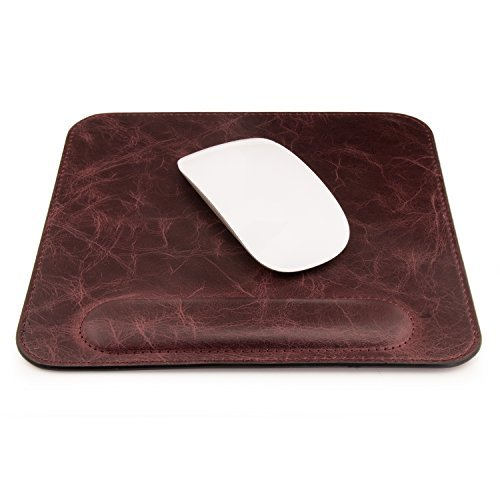 (OTTO Genuine Leather Mousepad with Wrist Rest, Brown)