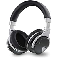 Okra Rhythm JB500 Active Noise Cancelling Wireless Over-ear Stereo Headphones - Microphone, Volume, Play, Pause, Skip and Answer Call Controls (Black)