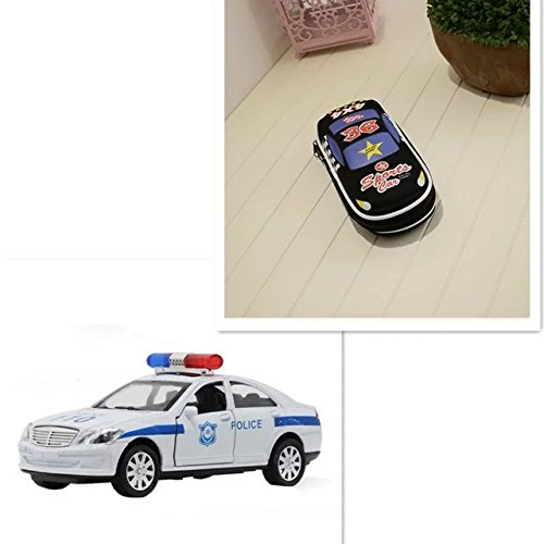 COFFLED Car Model Christmas Gift Pack ,1 PC Pencil Case Holder And 1 PC 1:30 Toddler Boys Police Car with Light Music