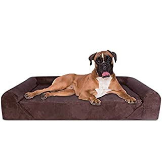 "KOPEKS 6-Inchthick High Grade Orthopedic Memory Foam Sofa Dog Bed Easy to Wash Removable Cover with Anti-Slip Bottom. Free Waterproof Liner Included - Jumbo XL 56"" x 40"" for Large Dogs - Brown"