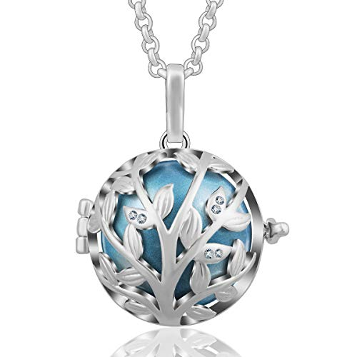 AEONSLOVE Tree of Life Olive Leaves CZ Harmony Bola Chime Bell Pendant Necklaces for Women, 30'' Long Chain (Metallic Blue) ()
