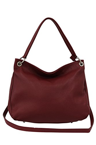 Cross Women's Genuine body GL002 Bag Red Leather bag Moda Handbag Dark AMBRA colors Hobo Many Shoulder bag SwqxFzEp5