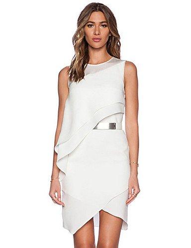 PU&PU Robe Aux femmes Gaine Sexy,Couleur Pleine Col Arrondi Mini Polyester , white-l , white-l