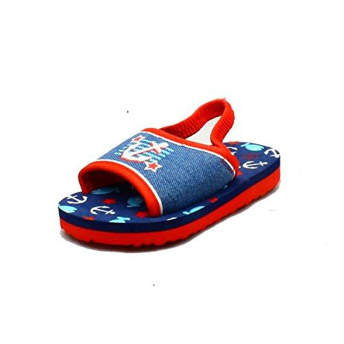 Kleine Jungen Blau / Rot Leinwand Schaumunterbadeschuhe/ Sandalen