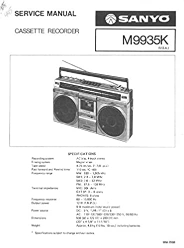 sanyo m9935k service manual sanyo service manual for repairs rh amazon com Western Golf Carts Parts Manual Western Golf Carts Parts Manual