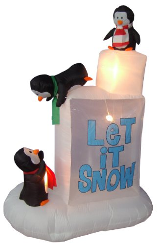6 Foot Christmas Inflatable 3 Penguins on Snow Outdoor Yard Decoration