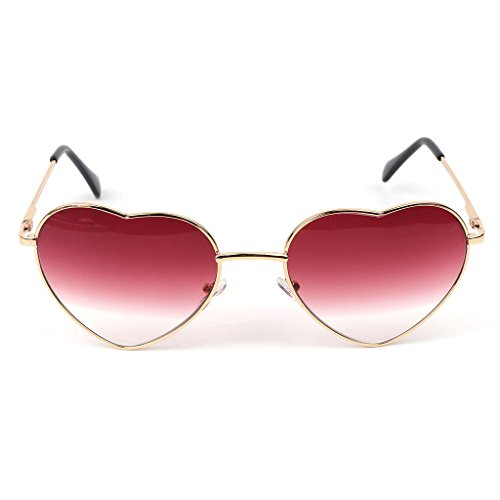 Frame Lens Pink Demo (Hukai Heart Shape Sunglasses Metal Golden Frame Reflective Mirror Colorful Lens Female (B))