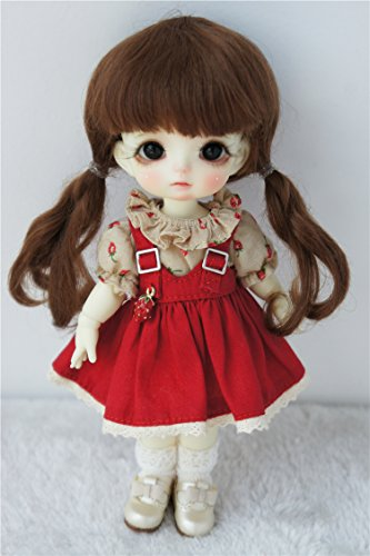 Late Pig - JD357 5-6inch 13-15CM Light brown Double Pigtail mohair BJD wigs 1/8 Lati yellow mohair doll hair