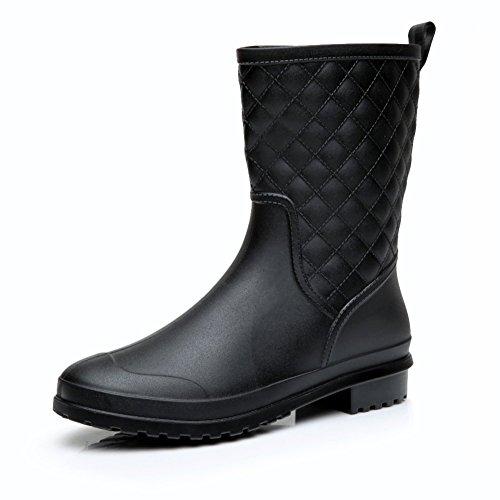 Holyami Womens Waterproof Rubber Mid Calf Rain Shoes Fashion Block Heel Rain Boots for Outdoor Garden Work