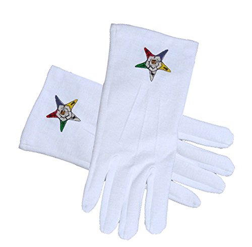 OES Classic Star Face Cotton Gloves - White (One Size Fits Most) - Order of the Eastern Star. Masonic OES Formal Wear Regalia and Accessories. (One Size Fits Most)