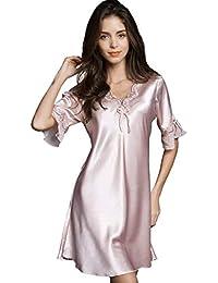 Women Sleepwear Sexy Lingerie V-Neck Soft Nightgown Short Skirt Silk Lace  Pajama Dress 5c05b1e05