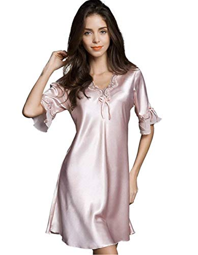 - Uforme Women Sleepwear Sexy Lingerie V-Neck Nightgown Short Skirt Silk Lace Pajama Dress (M, Pink)