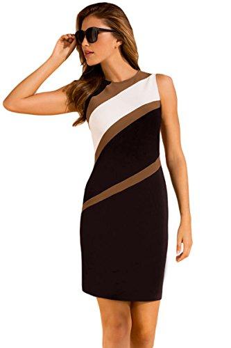 Unbranded* Women's Elegant Sleeveless Accents Colorblock Geometric Pattern Tube Dress White Medium