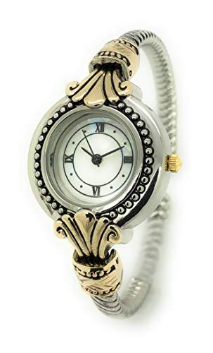 (Ladies Elegant Modern Antique Rope Style Metal Bangle Cuff Fashion Watch Roman Numerals (Two Tone))