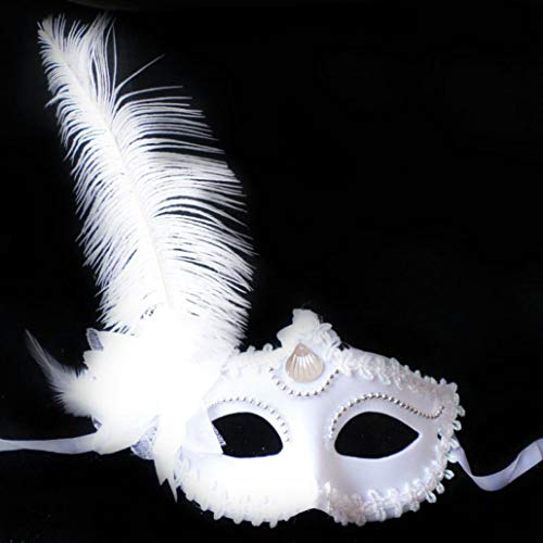 Yezijin Masquerade Feather Mask Halloween Cutout Prom Party Mask Accessories (White)