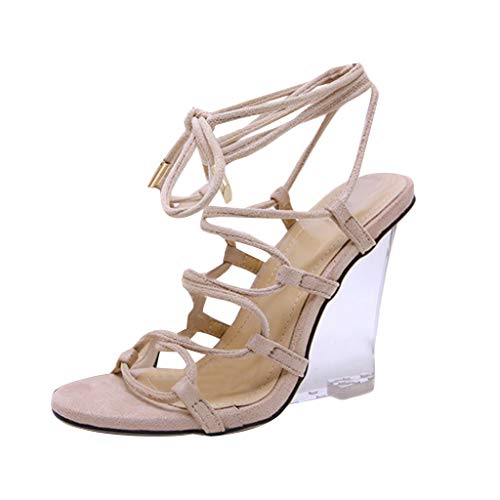 JJHAEVDY Womens Cross Strappy Lace Up Sandals Fashion Open Toe High Heel Sandals Pumps Clear Transparent Wedge Heel Shoes