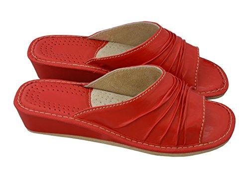 Bawal TOP! 100% Genuine Leather Women's Slippers, Slip-On, Open Toe | Beige Red | Model VA90 Red