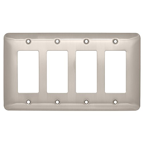 Franklin Brass W18107-SN-C Stamped Round Quad Decorator Wall Plate/Switch Plate/Cover, Satin Nickel - Collection Quad Outlet Plate