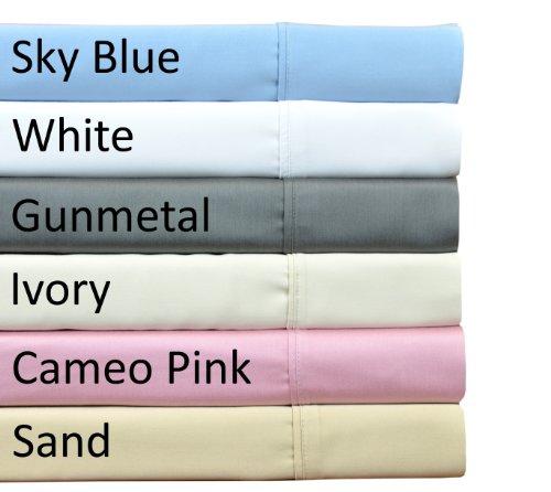 Brielle 510 Count 100-Percent Rayon Bamboo Sateen Premium Sheet Set, Full, Gunmetal