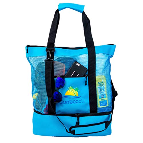 Sunbeach Mesh Beach Bag Tote with Built-in Insulated Cooler, Zipper Closure, Outside Zipper Pocket, Padded Handle Grips and Removable Padded Shoulder Strap (Blue