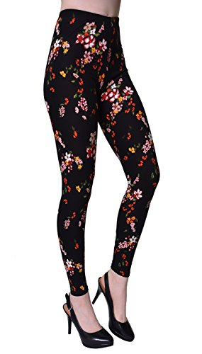 VIV Collection Plus Size Printed Brushed Leggings (Rose Shadows) (Red Rose Collection)
