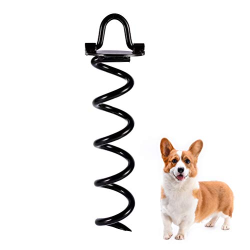 SCENEREAL Dog Tie Out Yard Spiral Stake 10 inch - Anti-Rust Folding Pet Anchor for Garden Yard and Outdoor Camping Small Medium Large Dogs Tie Out Stakes