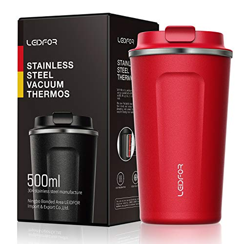 Insulated Tumbler Coffee Travel Mug Vacuum Insulation Stainless Steel with Lid Leakproof BPA-Free 17oz RED