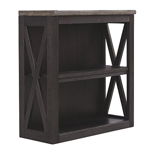 Adjustable Center Shelf - Ashley Furniture Signature Design - Tyler Creek Medium Bookcase - Casual - 2 Shelves - Adjustable Center Shelf - Grayish Brown/Black Finish