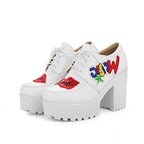 AgooLar Damen Rund Zehe Hoher Absatz Weiches Material Gemischte Farbe Schnüren Pumps Schuhe Weiß