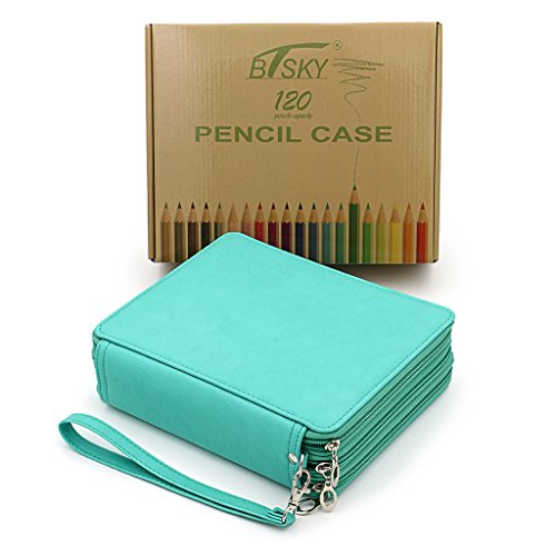 BTSKY Deluxe PU Leather Pencil Case for Colored Pencils - 120 Slot Pencil Holder with Handle Strap Handy Colored Pencil Box Large(Green)