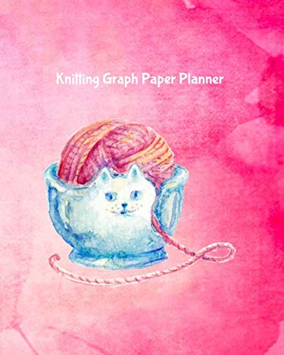 Knitting Graph Paper Planner: Design Notebook, Blank Knitter Patterns Book, 2:3 Ratio, Kitten Cat Bowl with Yarn Ball on Pink
